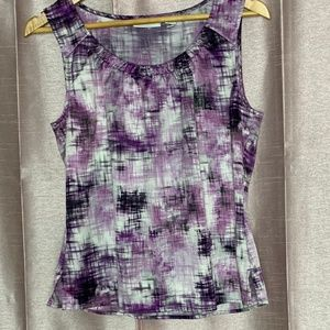 Chico's sleeveless purple print blouse size 1 EUC